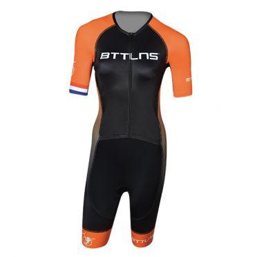 BTTLNS Typhon 2.0 trisuit short sleeve black/orange women