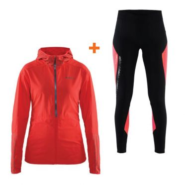 Craft Brilliant 2.0 hood running jacket and thermal tight black/pink women