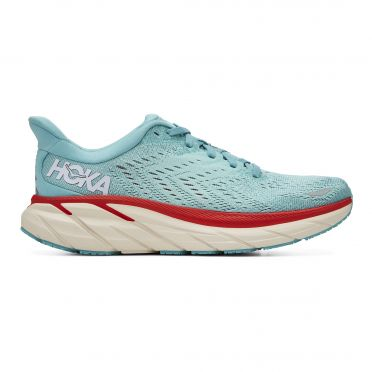 Hoka One One Clifton 8 running shoes blue/red women