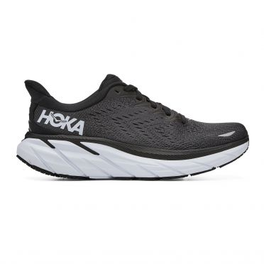 Hoka One One Clifton 8 wide running shoes black/white women