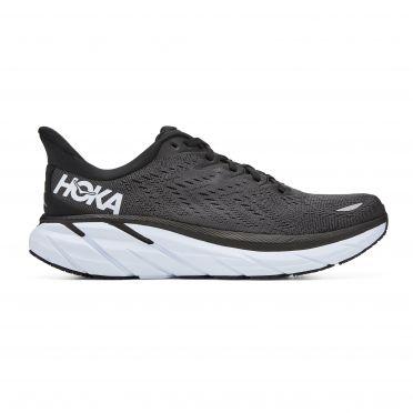 Hoka One One Clifton 8 wide running shoes black/white men