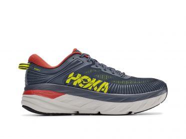 Hoka One One Bondi 7 running shoes blue/yellow men