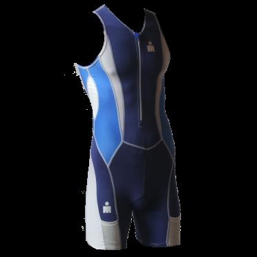 Ironman trisuit front zip sleeveless Speedflo blue men