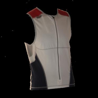 Ironman tri top front zip sleeveless bodysuit white/blue/red men