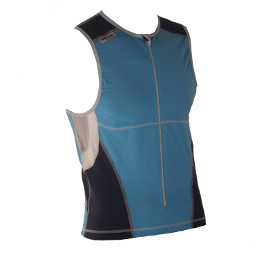 Ironman tri top front zip sleeveless bodysuit blue men