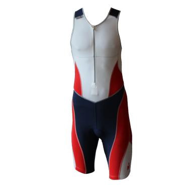 Ironman trisuit front zip sleeveless bodysuit white/blue/red men