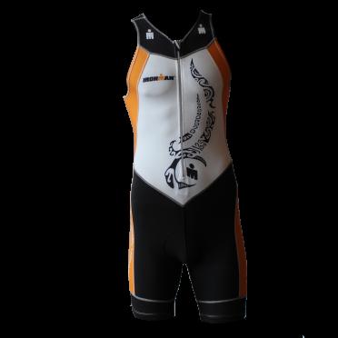 Ironman trisuit front zip sleeveless multisport tattoo white/orange men