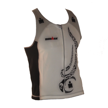 Ironman tri top front zip sleeveless multisport tattoo white/black/silver men