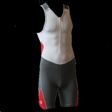Ironman trisuit front zip sleeveless bodysuit white/antracite men
