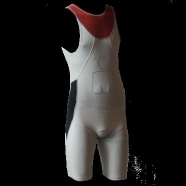 Ironman trisuit back zip sleeveless Aero white/red men