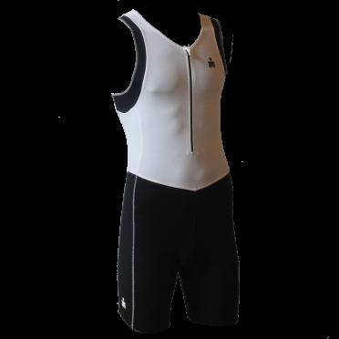 Ironman trisuit front zip sleeveless B9 white/black men