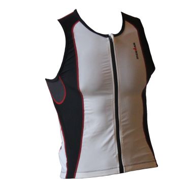 Ironman tri top front zip sleeveless 2P white/black men