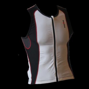 Ironman tri top front zip sleeveless 2P white/black men
