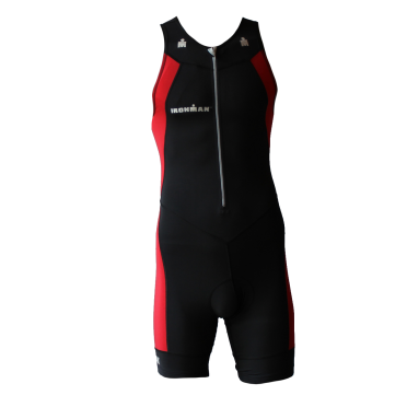 Ironman trisuit front zip sleeveless multisport black/red men