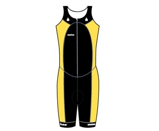 Ironman trisuit front zip sleeveless multisport black/yellow men