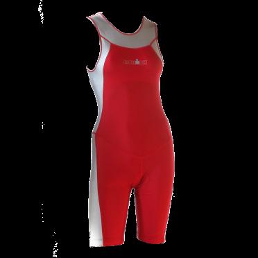 Ironman trisuit back zip sleeveless Skin suit red/silver women