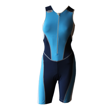 Ironman trisuit front zip sleeveless bodysuit blue women