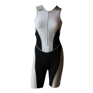 Ironman trisuit front zip sleeveless bodysuit white/black women