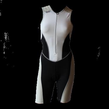 Ironman trisuit front zip sleeveless bodysuit white/black women