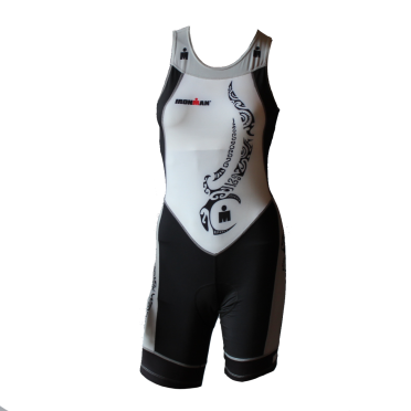 Ironman trisuit back zip sleeveless multisport tattoo white/black/silver women