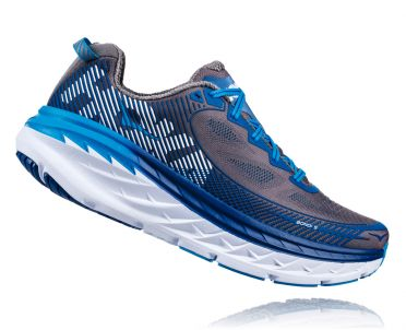 Hoka One One Bondi 5 running shoes gray/blue men