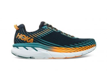 Hoka One One Clifton 5 wide running shoes black/blue men