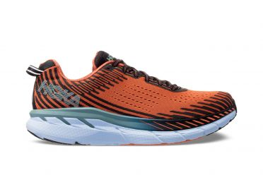 Hoka One One Clifton 5 running shoes orange/green men