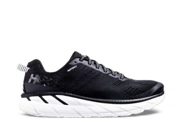 Hoka One One Clifton 6 wide running shoes black/white men