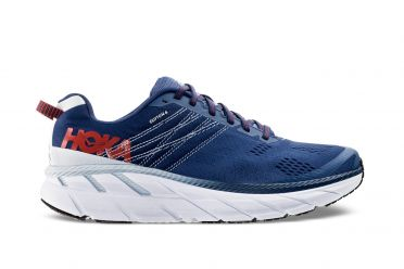 Hoka One One Clifton 6 wide running shoes blue/white men