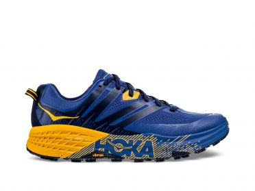 Hoka One One Speedgoat 3 trail running shoes blue/yellow men