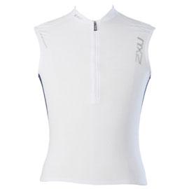 2XU Men's Endurance 3 pocket Tri Singlet white/blue