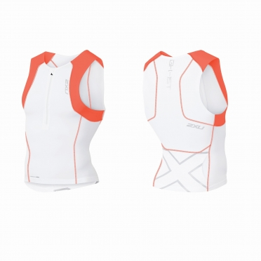 2XU GHST Tri singlet white/orange men