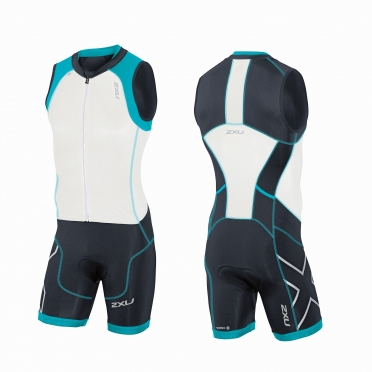 2XU Compression Full Zip trisuit white/black/blue men