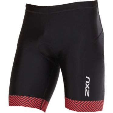 "2XU Perform 9"" tri shorts black/red men"