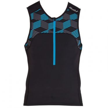 2XU Active sleeveless tri top black/blue men