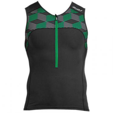 2XU Active sleeveless tri top black/green men