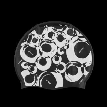 Orca Silicone swim cap black print