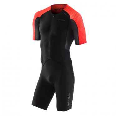 Orca core aero race trisuit short sleeves black/red men