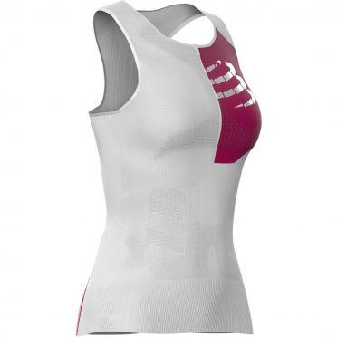 Compressport Postural sleeveless compression tri top white women