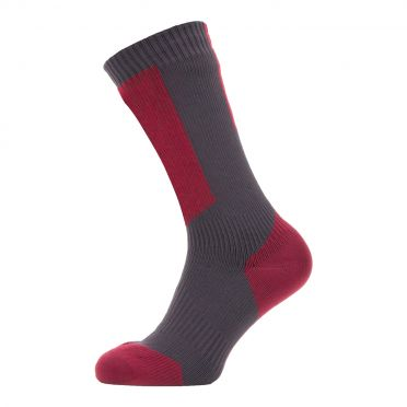 Sealskinz Cold weather mid cycling socks with Hydrostop gray/red/white