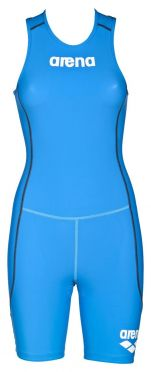Arena ST rear zip sleeveless trisuit blue women