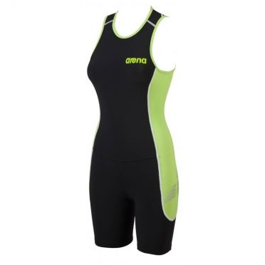 Arena ST rear zip sleeveless trisuit black/green women