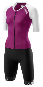 Sailfish Aerosuit comp short sleeve trisuit purple/white women
