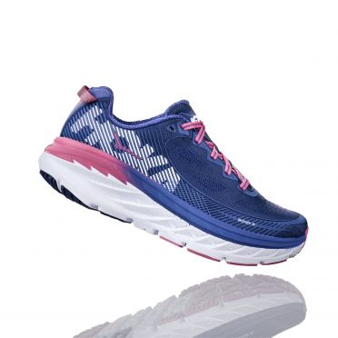 Hoka One One Bondi 5 running shoes blue/pink women
