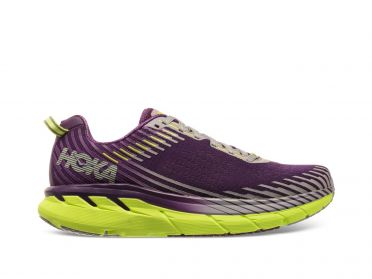 Hoka One One Clifton 5 running shoes purple/yellow women