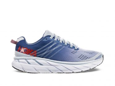 Hoka One One Clifton 6 wide running shoes blue/white women