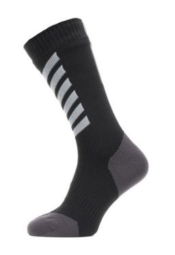 Sealskinz All weather mid cycling socks with Hydrostop black/grey/white