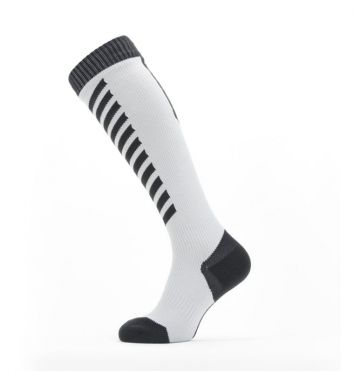 Sealskinz Cold weather knee cycling socks with Hydrostop White/black