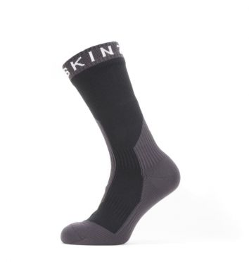 Sealskinz Extreme cold weather mid cycling socks with Hydrostop Black/grey