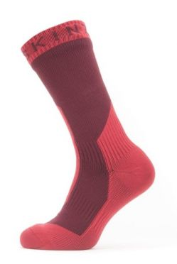 Sealskinz Extreme cold weather mid cycling socks with Hydrostop red